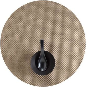 CHILEWICH Basketweave Round  Placemat S/4 | New Gold