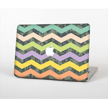 """The Vibrant Colored Chevron With Digital Camo Background Skin Set for the Apple MacBook Air 11"""""""