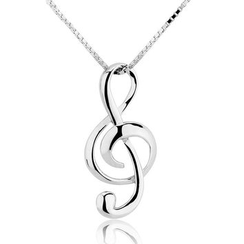Silver Musical Note Necklaces Pendants Jewelry