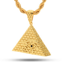 18K Gold All Seeing Eye Pyramid Pendant