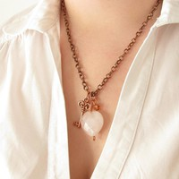 Valentine Jewelry - Heart Jewelry - The Key To My Heart - Pink Quartz Heart - Copper Key Pendant | Luulla