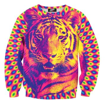 Psychedelic Trippy Tiger Face Graphic Rainbow Print Sweatshirt Sweater