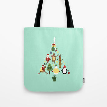 Christmas tree with reindeer, Santa Claus and bear Tote Bag by Graf Illustration