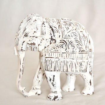 Distressed White Vintage Wooden Elephant
