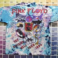 Vintage Pink Floyd shirt | vtg tie dye band shirt 1990s | Pink Floyd tshirt men XL | The Division Bell tour 1994 | 90s rock concert tees