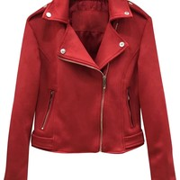 Red Faux Suede Lapel Biker Jacket