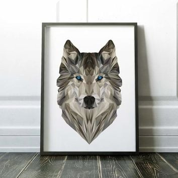 Geometric Wolf Painting Poster Art Print Canvas