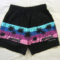 Vintage 80s HAWAII BEACH SURF Skate Amazing Graphic Black Unisex Medium Spring Summer Board Shorts