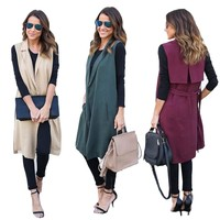 Sleeveless Long Cardigan Jacket