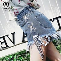 2018 Highwaisted Mini Jeans Shorts Women Both Side Tie Mini Short Sexy Denim Shorts Jeans