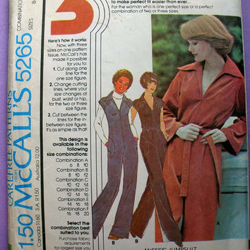 Jumpsuit with Front Zipper Misses' Size 8, 10, 12 McCall's 5265 Vintage Sewing Pattern Uncut Retro 1970's