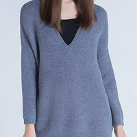 Blue V-neck Knitted Jumper
