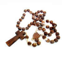 Giant Vintage Wood Rosary Bead Chain