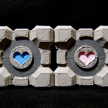 Portal Companion Cube Wedding Cake Toppers Nerdy Love