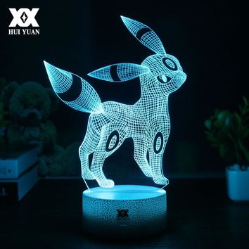 Creative Pokemon Umbreon 3D Lamp Visual illusion USB Cartoon Night Light LED 7 Color Sleep Table Lamp Children Christmas Gifts