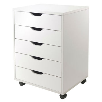 White 5-Drawer Mobile Filing Cabinet with Wheels