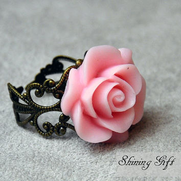 Vintage Inspired Blooming Rose Flower Resin Ring by Shininggift