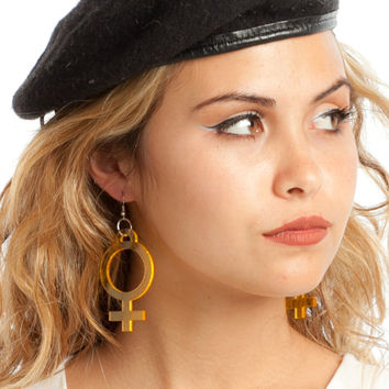 Translucent Yellow Jumbo Girl Power Earrings