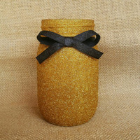 Gold glitter jar, makeup brush holder, glitter jar, gold jar, mason jar, gold mason jar, gold makeup brush holder, gold decor