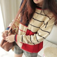 Color Stripe Round Neck Long Sleeved Sweater