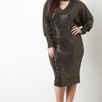 Sequin Shimmer Keyhole Cocktail Midi Dress