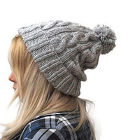 Hand Knit Beanie in Gray, Womens Pom Pom Hat, Unisex Ski Hat, Cable Knit Beanie, winter fashion