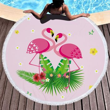 Flamingos 150cm Round Large Beach Towel Animal Bath Towel Tassel Tapestry Home Decor Summer Beach Cover Up Suncreen Yoga Mat