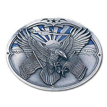 Sports Accessories - Eagle Carrying Flags Enameled Belt Buckle