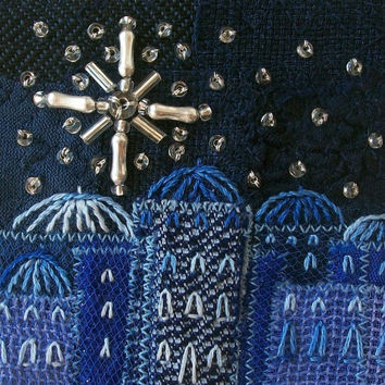 Embroidered blue Christmas card - five inch square fabric art card - beaded Christmas star - starry sky - blue Advent card