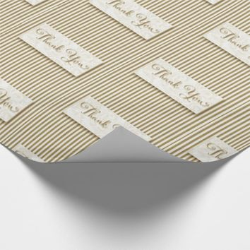 Thank You Typography with Soft Taupe Cream Stripes Wrapping Paper