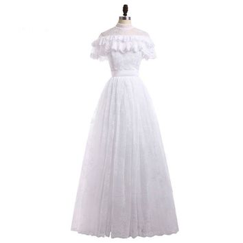High Neck A Line Wedding Dresses Short Sleeves Lace Bridal Sash Wedding Gowns