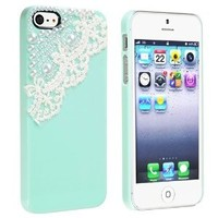 CyberStyle(TM) Case compatible with Apple iPhone 5 / 5S, Mint Green with Lace Pearl + Free Clear Screen Protector