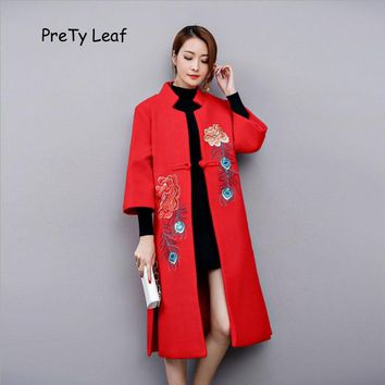 2017 Autumn and winter new Chinese style long embroidery thick wool jacket
