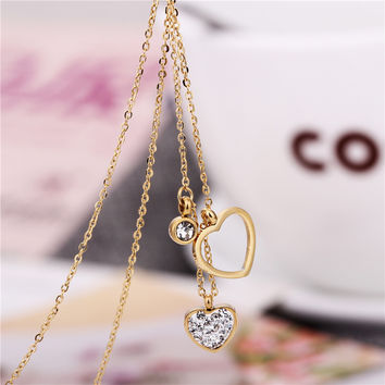 Wedding Party Women Jewelry Stainless Steel Necklaces Rose 18K God Silver Plated Pendants Heart Crystal Fine Female Accessories