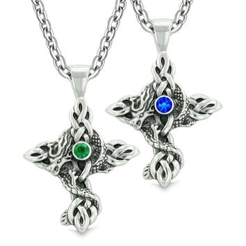 Fire Dragon Celtic Knots Protection Cross Amulets Love Couples Best Friends Green Blue Necklaces