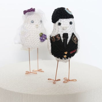 Wedding Birds cake topper military,  Military Cake topper, Service Birds Bride and groom