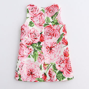 Summer Kids Clothes Children Clothing Brand Rose Flowers= Sleeveless Baby Girl Dress Party