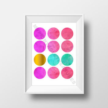 Polka Dot Nursery Art, Abstract Painting, Pink, Mint Blue, Gold Watercolor Art Print for Modern Nursery, Printable Wall Art, Polka Dot