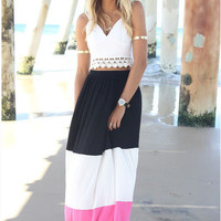 Multi Color Cropped Top and Chiffon Maxi Skirt