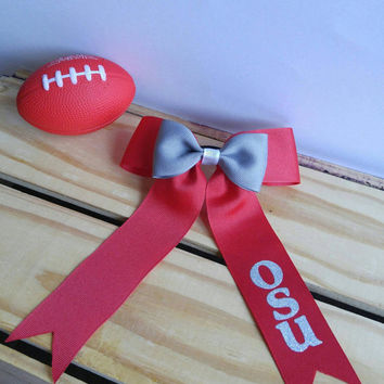 Ohio State Cheer bow - OSU - Football - Cheer Bow - Football Accessories - Ohio State Accessories - Adult Bow - Child Bow - Personalized
