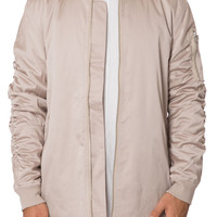 Clay Curved Hem Bomber Jacket