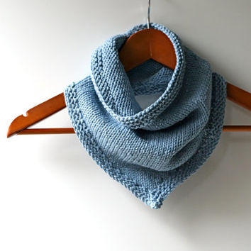 Made to Order: Light Blue Hand Knitted Cotton Blend Bandana Cowl Infinity Scarf