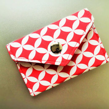 Card Holder, Gift Card Holder, Business Card Holder, Teacher Gift, Handmade Gift for Coworker Red Cotton Holder