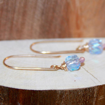 Light Blue Dangle Earrings, Blue Glass 14k Gold Filled Long Dangle Earrings, Short Dangle Earrings, Sterling Silver Earrings Bronze Earrings