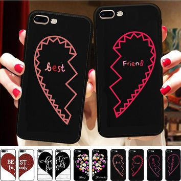 Minason BFF Floral Broken Heart Couple Cover For iPhone X 8 5 5S 6 6S 7 Plus Case Best Friend Soft Silicone Phone Fundas Capinha