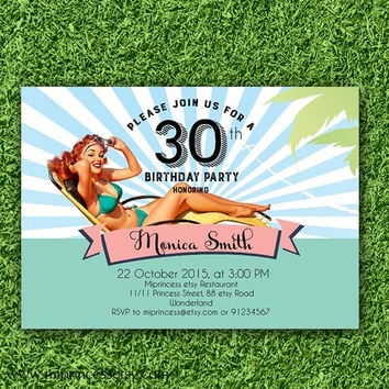Pool Birthday Invitation Pinup girl swimming party adult girl woman invite any age 10th 16th 18th 20th 30th 40th 50th vintage - card 713