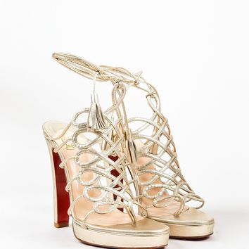 DCCK2 Christian Louboutin Metallic Gold Leather Salsbourg Lace Up Sandals