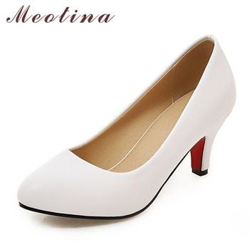 Meotina High Heel Women Shoes Pumps Plus size 33-43 Pointed Toe High Heels Slip-on Shallow Classics Dress Shoes Red White Black