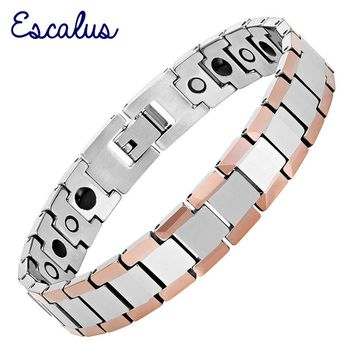 Escalus Tungsten Sporty Style Men Bracelet Magnetic Lovely Germanium Link Chain Bracelet Bangle Jewelry Gift Wristband Charm