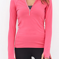 FOREVER 21 High Collar Running Jacket Berry